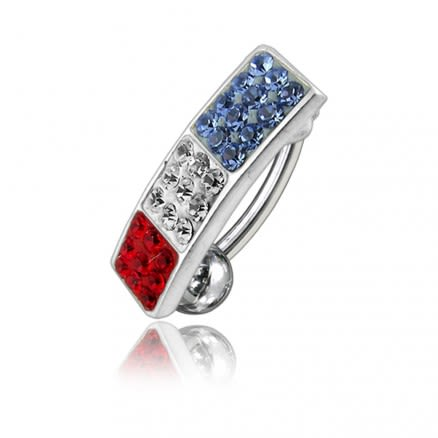 Multi Color Crystal Stone Reverse Curved Bar Belly Ring