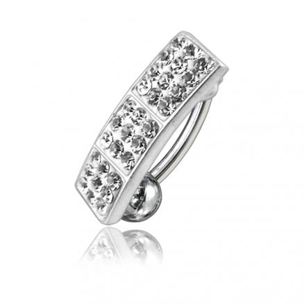 White Crystal Stone Silver Reverse Banana Bar Belly Navel Ring Body Jewelry
