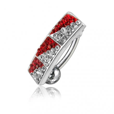 Red And White Crystal Stone Reverse Bar Belly Ring
