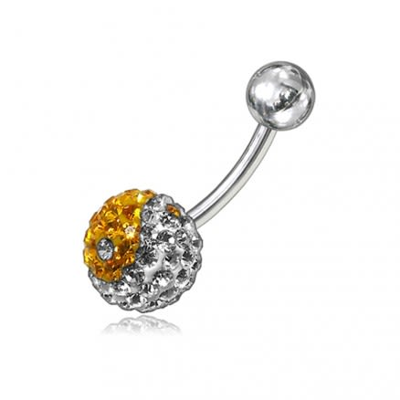 Yellow And White Preciosa Crystal Stone With SS Bar Belly Ring