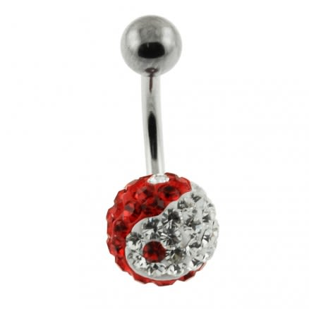 Red And White YING YANG Crystal Stone With SS Bar Banana Belly Ring FDBLY052