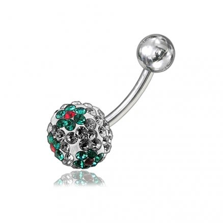 Green Flower Crystal stone Navel Ring FDBLY054