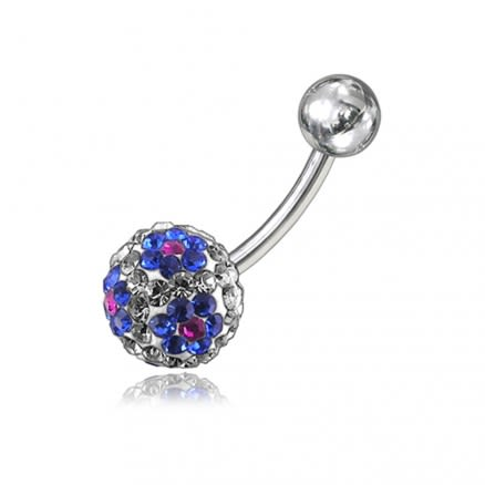 Blue Crystal Stone With SS Bar Navel Belly Ring FDBLY058