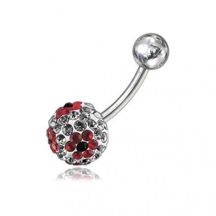 Red Crystal Stone Flower With SS Bar Banana Curved  Belly Ring FDBLY060