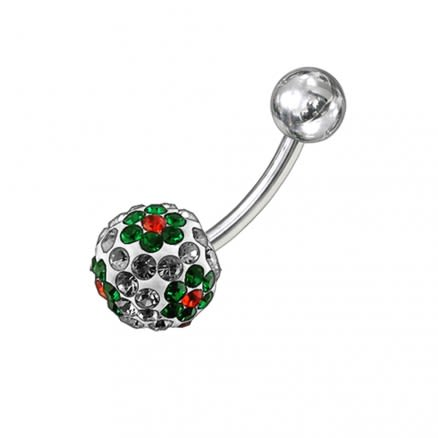 Multi Color Crystal Stone Flower With SS Banana Curved Bar Navel Body Jewelry Ring