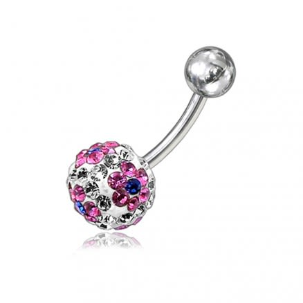 Crystal Stone Flower With SS Banana Bar Belly Ring FDBLY063