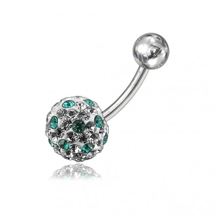 Multi Crystal Stone Ball With Curved Bar Belly Ring