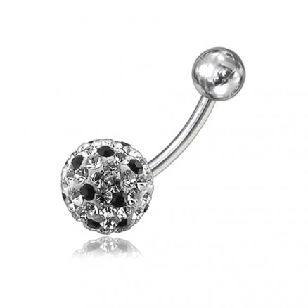 SS Crystal Stone Studded Balls With Curved Navel Body Jewelry Ring