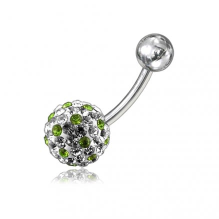 White With Mix Color Crystal Stone Balls With 316L SS Banana Bar Belly Ring