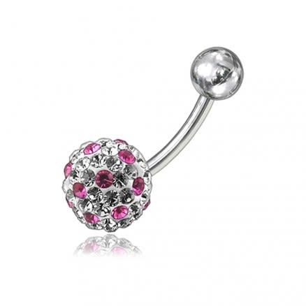 Pink And White Crystal Stone Balls SS Banana Bar Belly Ring