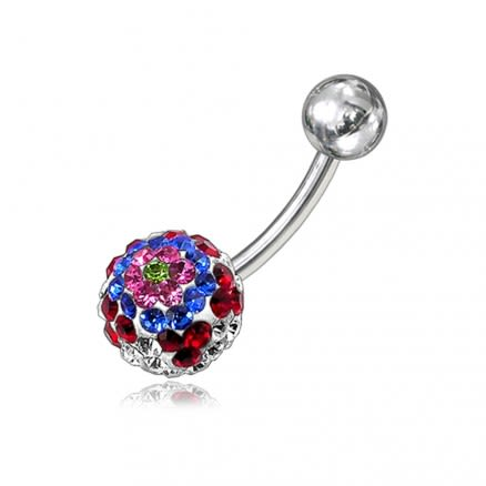 Rianbow Color Crystal Stone Dangling Banana Bar Navel Ring