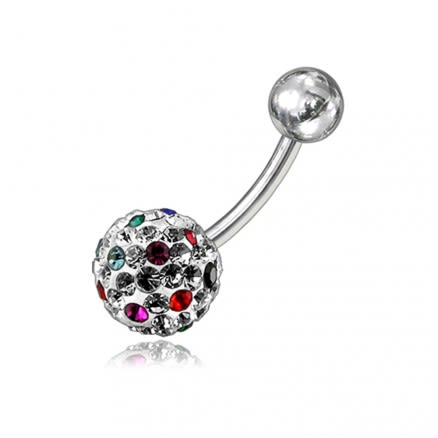 Red And White Crystal Stone Balls With SS Bar Belly Ring FDBLY081