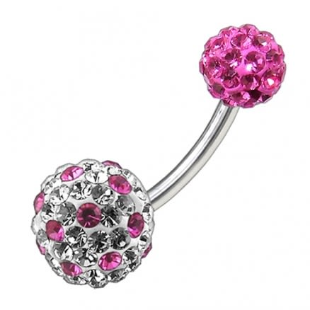 Multi Color Crystal Stone Balls With SS Banana Bar Belly Ring FDBLY091