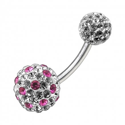 Multi Color Crystal Stone Balls With SS Banana Bar Belly Ring FDBLY092