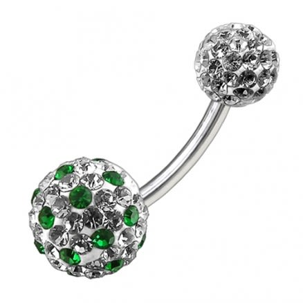 Multi Color Crystal Stone Balls With SS Banana Bar Belly Ring