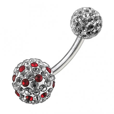 Mix Color Crystal Stone Balls With Steel Bar Navel Ring FDBLY096