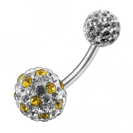 Multi Color Crystal Stone Balls With SS Bar Navel Ring FDBLY099