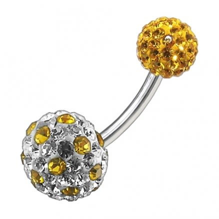 Multi Color Crystal Stone Balls With SS Bar Navel Ring FDBLY100
