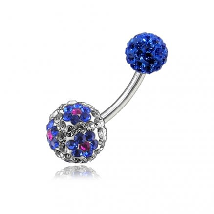 Multi Color Crystal Stone Balls With SS Bar Belly Ring FDBLY105