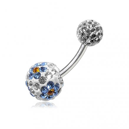 Multi Color Crystal Stone Balls With SS Bar Navel Belly Ring FDBLY109