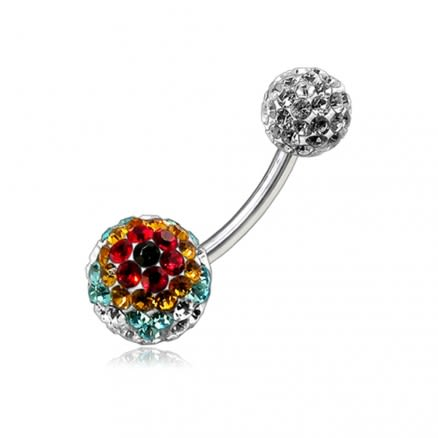 Crystal Stone Balls With SS Curved Bar Belly Ring FDBLY110