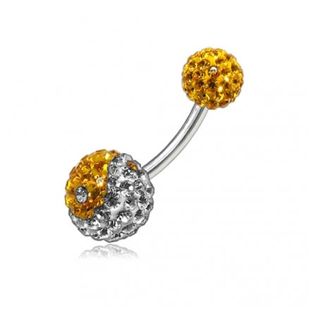 White And Yellow Crystal Stone Balls With Banana Bar Belly Ring
