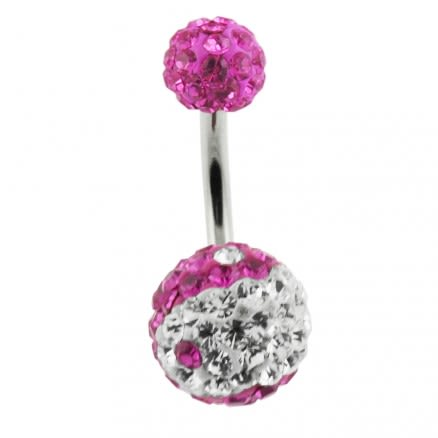 Pink And White Crystal Stone Balls With Navel Belly Ring