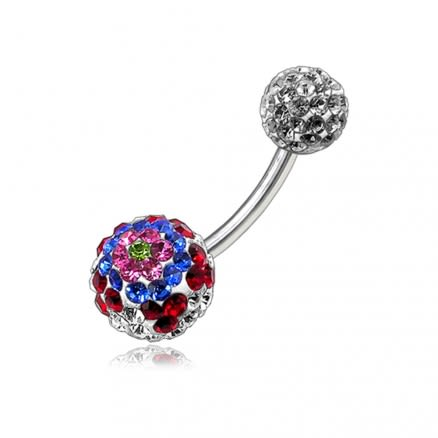 Multi Color Crystal Stone Studded Balls With Navel Banana Belly Ring