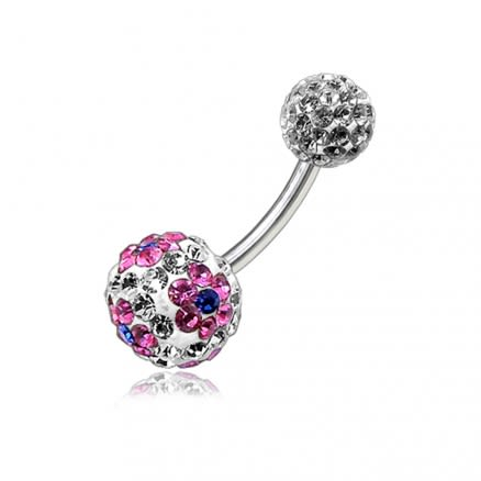Pink Heart Crystal Stone Balls With SS Bar Navel Body Jewlery Ring