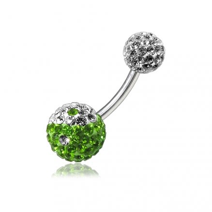 Multi Color Crystal Stone Calls With SS Bar Navel Ring FDBLY121
