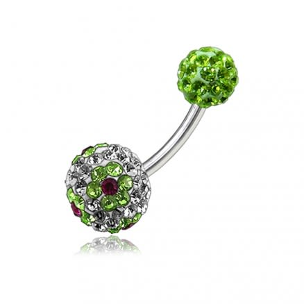 Green Flower Crystal Stone Ball With Steel Bar Body Jewelry Belly Ring