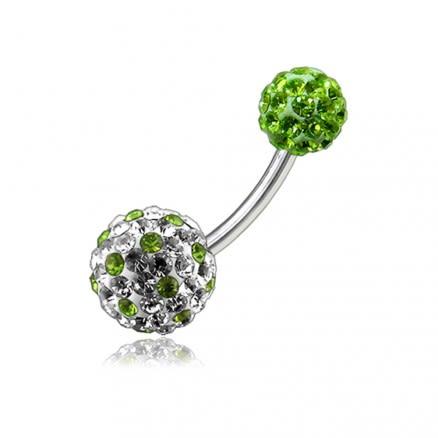 White And Green Crystal Stone Studded Balls With SS Bar Banana Navel Ring