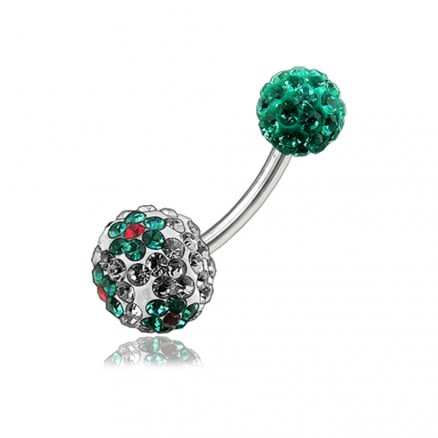 Light Green Crystal Stone Balls With SS Bar Banana Belly Ring FDBLY126