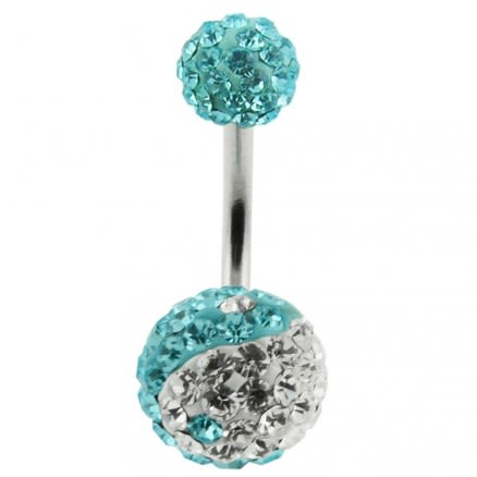 Multi Crystal Stone Balls With SS Bar Navel Belly Ring FDBLY127
