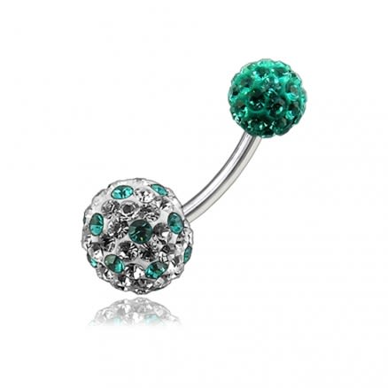 Mix Color Crystal Stone Studded Balls With SS Navel Body Belly Ring FDBLY130