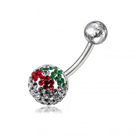 Multi Crystal stone Studded With 12mm Ball With SS Bar Curved Belly Ring