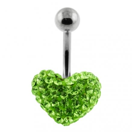 Light Green Color Crystal stone Heart With SS Curved Bar Ring