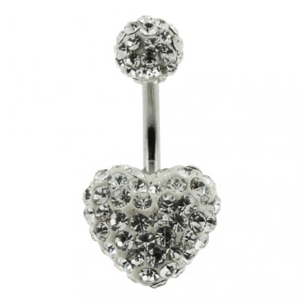 White Crystal stone Heart With SS Bar Belly Button Ring