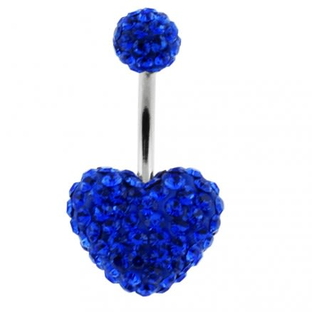 Blue Crystal stone Heart With Top Ball With SS Bar Belly Ring