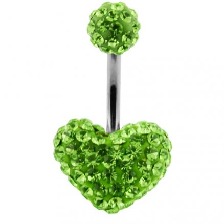 Green Crystal stone Heart With Top Ball SS Banana Curved Navel Belly Ring