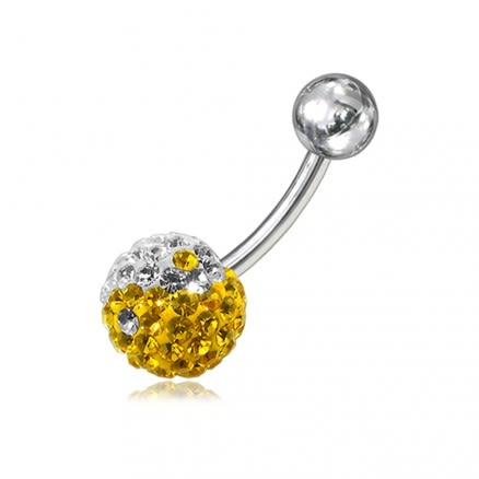 Yellow And White Crystal stone Ball With Navel Belly Ring