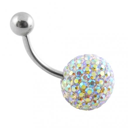 Rainbow Color Crystal stone Studded With SS Bar Belly Ring
