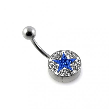 Royal Blue Crystal Star Studded With 316L Steel Navel Belly Ring