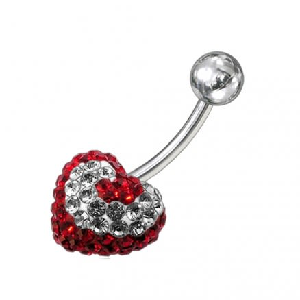 Mix Color Crystal stone Heart Navel Ring FDBLY201