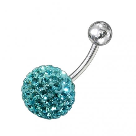 Sky Blue Crystal Studded In Silver 316L SS Banana Bar Navel Ring