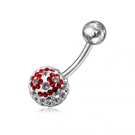 Red And White Crystal stone Studded In Silver With SS Bar Navel Ring