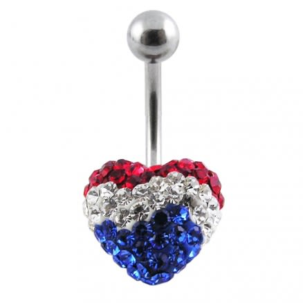 Fancy Mix Color Crystal Stone Heart With 316L Surgical Steel Curved Belly Ring