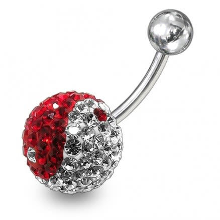 Red And White Mix Crystal stone SS Bar Navel Ring