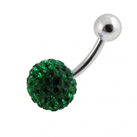 Glitter Green Crystal stone 316L SS Banana Bar Body Ring