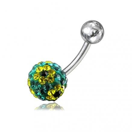 Multi Glitter Crystal stone Navel Banana Belly Ring FDBLY255